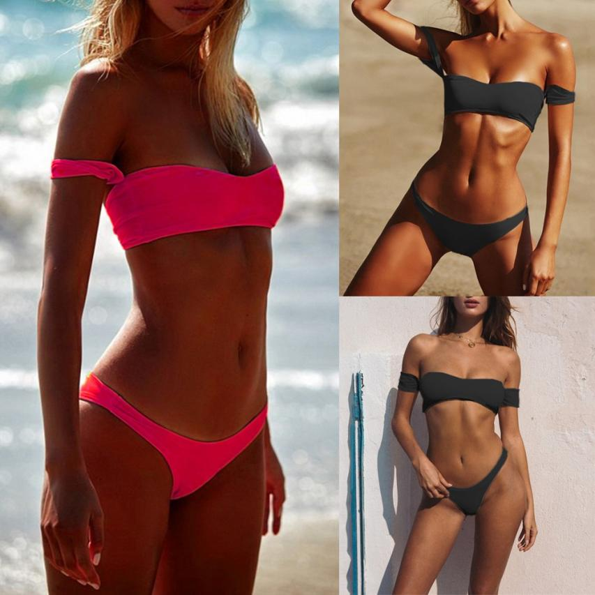 Womail Sexy one shoulder Swimwear Women 2018 High Cut Bikini Set Solid Swimsuit Push Up Bathing Swiming suit May Beach Wear