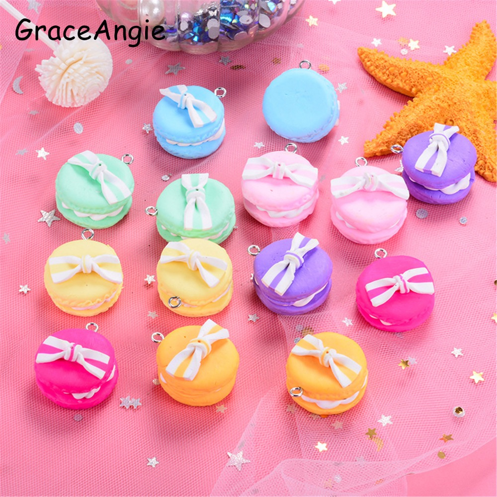 10pcs Sweet Baby Jewelry Pendant H mburger Macaron Charms Fimo Bow Jewelry Bow Hair Accessories Keychai Bracelet Charm DIY