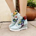 2016 Fashion Female Winter Boots PU Leather Casual Flat Shoes lace-up Floral Print Women Boots Splicing Increase Women Shoes