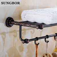 Solid Brass Vintage Style Bathroom Towel Rack black Bronze Towel Shelf Holder Carved Pattern Wall mount with hook FA 80812