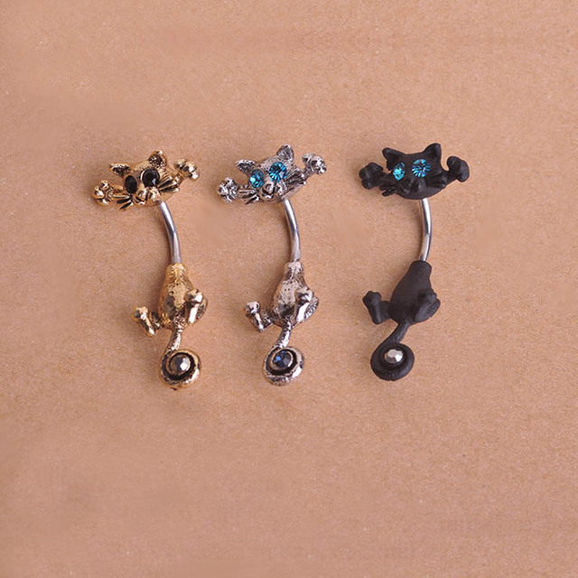 Beautiful cat navel ring body jewelry for Types of body jewelry rings