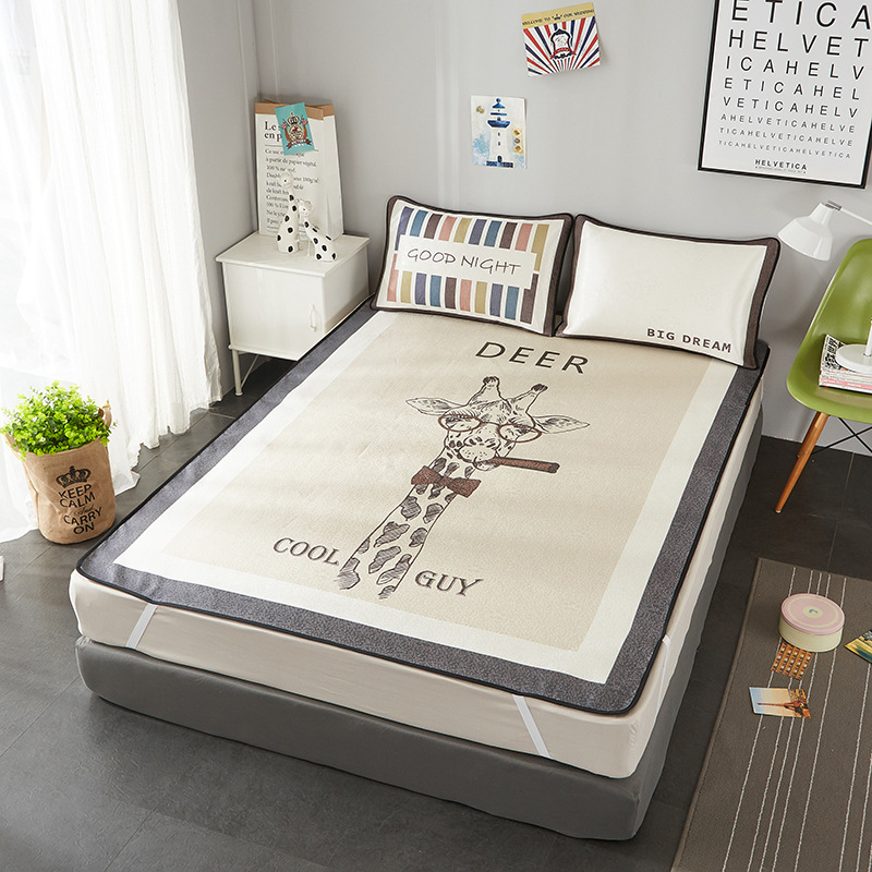 3pcs/set Summer Comfort Cute Cartoon Ice Silk Sleeping Mat Washable Folding Mat Bed Mattress Air- permeable Viscose Fiber Mat