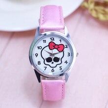 Модные женские кварцевые часы с бантиком и черепом для студентов, детские электронные цифровые часы с кожаным ремешком