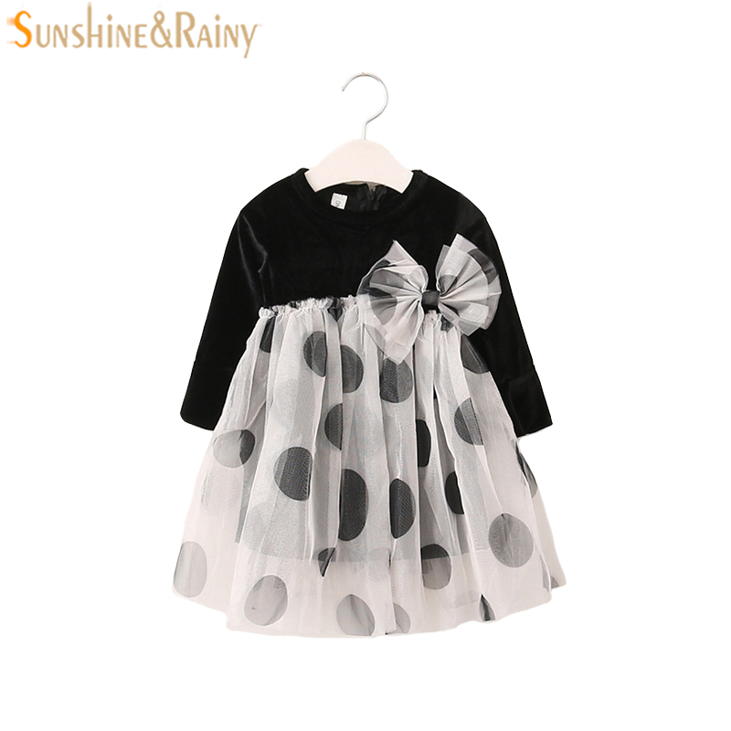 2017 Autumn Vintage New Baby Girl Velvet Dress Lace Bowknot Long Sleeve Winter Kids Dresses For Girls Princess Dress For Party fashion 2016 new autumn girls dress cartoon kids dresses long sleeve princess girl clothes for 2 7y children party striped dress