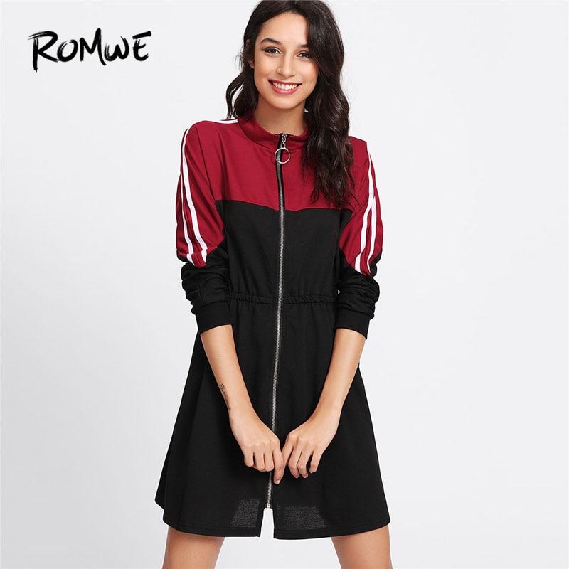 ROMWE 2018 Spring Stripe Contrast Sleeve Zip Front Dress Colorblock Stand Collar Women Dress Long Sleeve Shift Short Dress