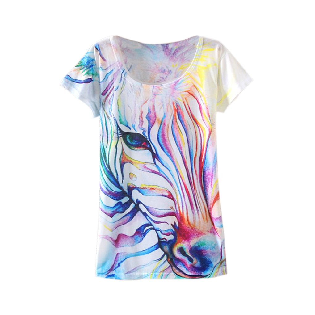 Zebra shirt design - Unique Printing Watercolor Zebra Design Women Personality Short T Shirt Round Neck T Shirt