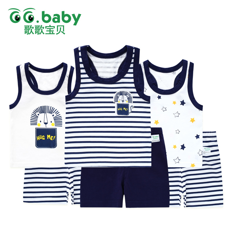 Baby Girl Boy Summer Clothes Set Sleeveless Baby Boy Vest Sets Tshirt Newborn Clothes Outfits Summer Suit For Boy Navy Clothing 2pcs set baby clothes set boy