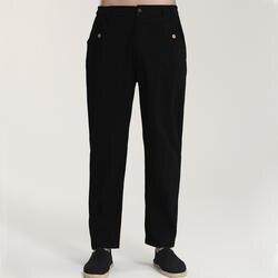 Плюс Размеры XXXL Черный Для мужчин длинные брюки мужской высокой Качественный хлопок льняные брюки кунг-фу тай-чи Брюки для девочек