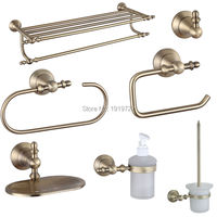 2016 Wholesale Luxury European 7 Pcs Brass Bath Hardware Sets Vintage Bathroom Accessories Brushed Bronze and Glass Bathroom Set