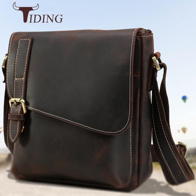 da6d80ed19 tiding Luxury Vintage Men s Shoulder Bag Crazy Horse Leather Messenger Bags  Top Handmade Cowhide Handbag Casual
