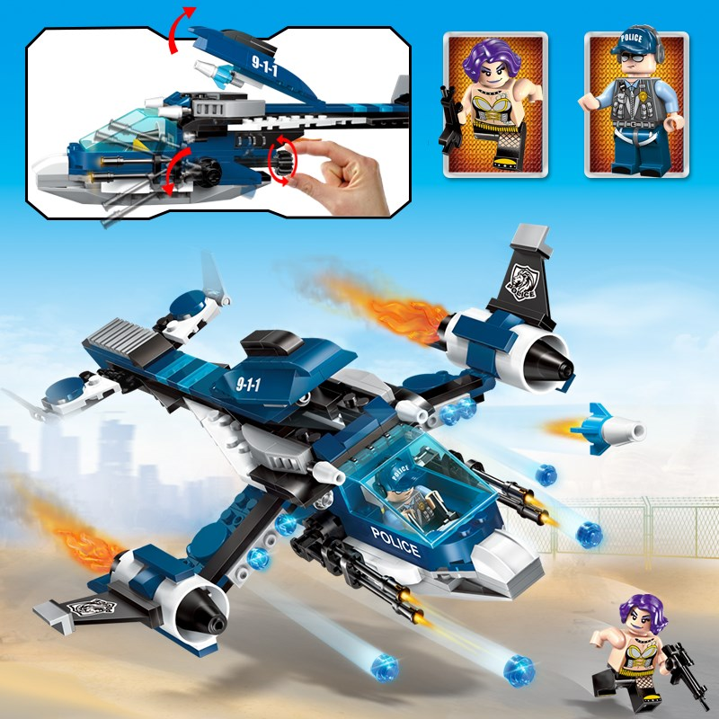 Enlighten Police Educational Building Blocks Toys For Children Kids Gifts City Hero Helicopter Weapon Gun Compatible With Legoe