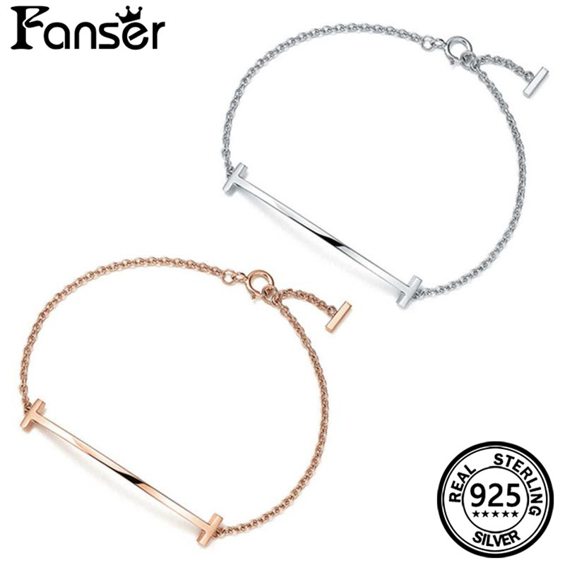 FANSER T Shape Smooth Bracelet Link chain With Logo Tif Geniune 100% Sterling Silver Women Jewelry DIY Fashion Trendy