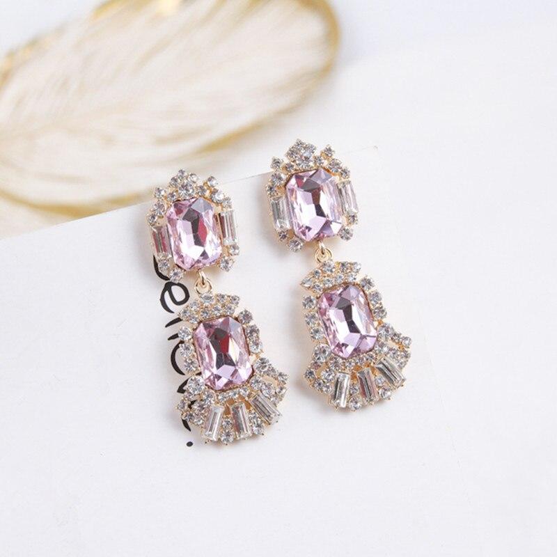 Új Shiny Luxury Square rózsaszín strasszos csepp fülbevaló a - Divatékszer