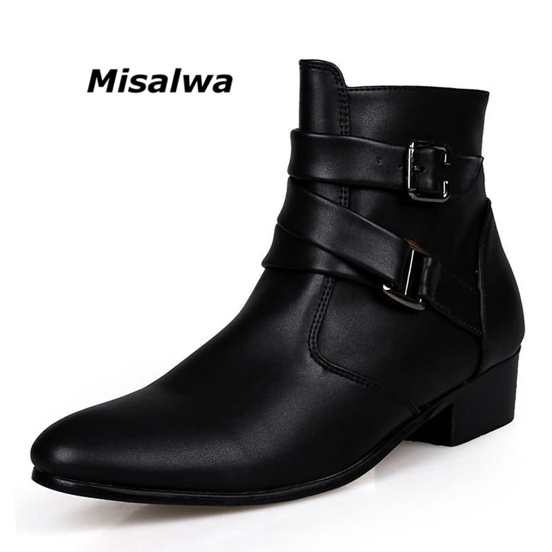 Misalwa 2018 British Style Casual Men Fashion Ankle Motorcycle Boots Men Pointed Toe PU Leather Male Warm Boots Botas Hombre недорого