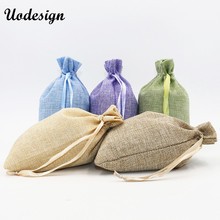 10pcs/lot  Linen Drawstring Pouch Jewelry Bag Logo Printed Jute Pouch Christmas/Wedding Party Big Candy Gift Packaging Bag