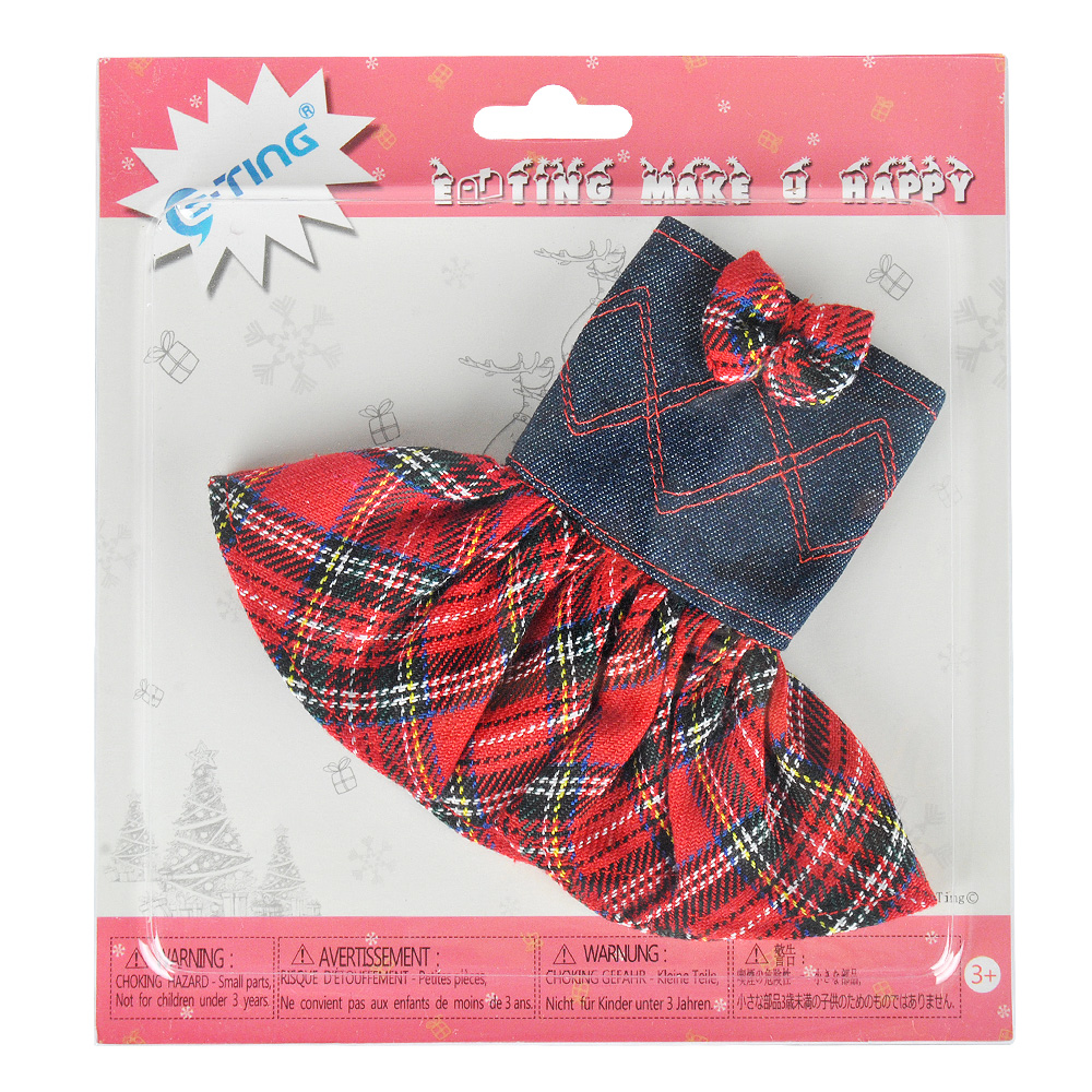 E-TING Claus Couture Clothing for Elf On Costume Shelves Lifestyle Bowknot Red Plaid Denim Dress Doll Accessories Christmas Gift