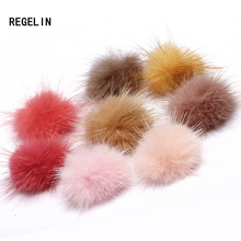 REGELIN Fashion Mink Fur Ball 100PCS 30MM Fur Pompom DIY Jewelry Making Findings Mink Ball for shoes jewelry cloth