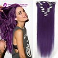 #Lila clip in human hair extensions Brazilian remy human hair 16-22inch 7pcs set hair extensions straight purple clip in