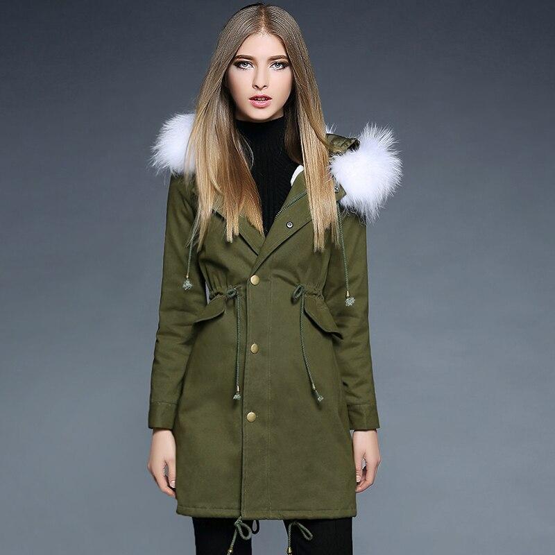 ФОТО Fox fur collar Parka Lambswool jacket 2016 Winter Jacket Women thick Snow Wear Coat Parkas warm Outwear Lady dust coat 1780
