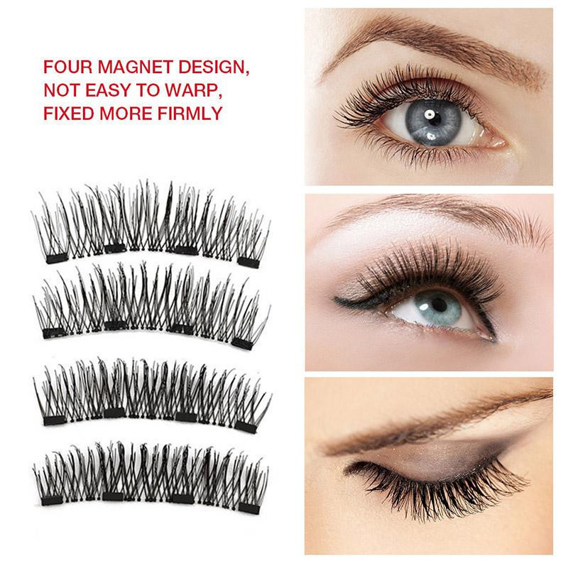 4Pcs Magnetic False Eyelashes Natural With 3D Magnets Handmade Magnetic Lashes Natural Lashes Extension Magnet Lash in False Eyelashes from Beauty Health