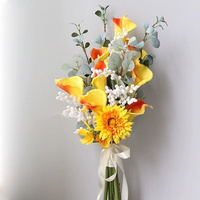 1 bouquet designed calla lily eucalyptus wedding bridal bouquet real touch flower