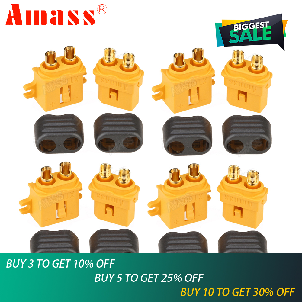5pair/lot Amass XT60-L XT60L Connector Plug Bullet Connectors With Lock Protective Sleeve For RC Lipo Battery