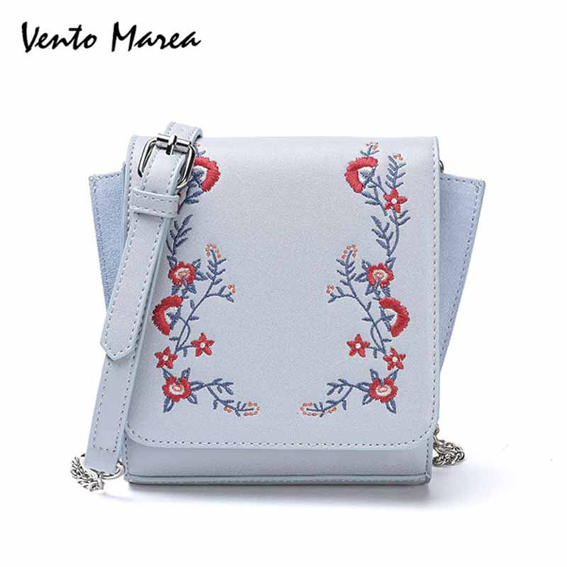 Vento Marea Mini Women Bags Embroidery Woman S Messenger Bag White Flower  Leather Handbag Women Crossbody Bag 6095b2218ec6a