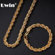 UWIN NE + BA 9 مللي متر حبل سلسلة القلائد و أساور كامل مثلج خارج الراين بلينغ bils 7/8/9 بوصة موضة مجوهرات الهيب هوب