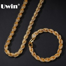 UWIN NE+BA 9mm Rope Chain Necklaces & Bracelets Full Iced Out Rhinestones Bling Biling 7/8/9inch Fashion Hiphop Jewelry