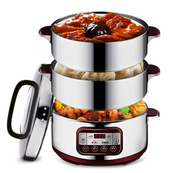 LK1802 Multifunction Electric Food Steamer Reservation Timing Multi Cooker Stainless Steel Electric Steamer 3 Layers 14.8 L bear dzg 305 electric steamer multilayer electric steamer multifunction three layers microcomputer appointment timing