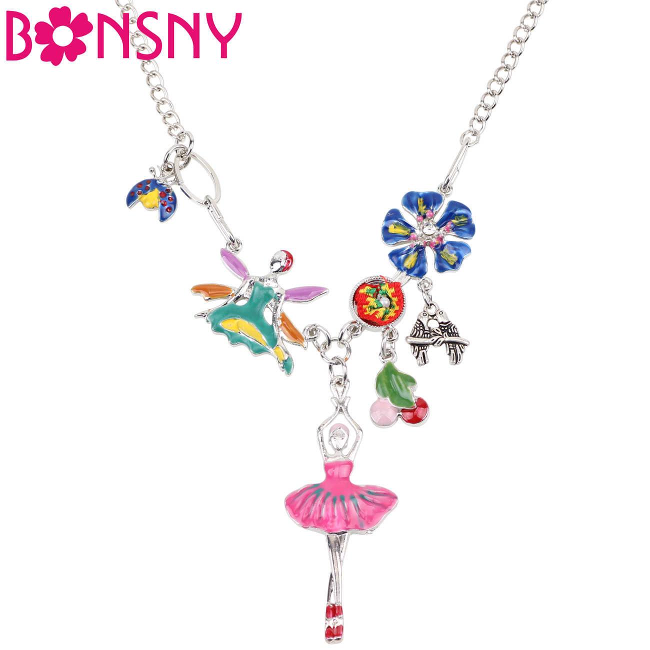 Bonsny声明バレエダンサーガールエンジェルネックレスペンダントエナメル昆虫チェリーフラワーチェーン妖精ファッションジュエリー用女性