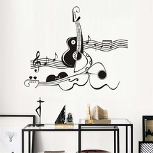 Stickers Creative Abstract Guitar And Violin Vinyl Wall Sticker Mural Musical Note Art Wallpaper For Kids Baby Room Home Decor