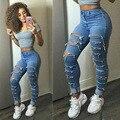 2017 nueva feminino american apparel de cintura alta jeans mujer denim jean flaco ripped jeans para mujeres pantalones vaqueros femme pantalon