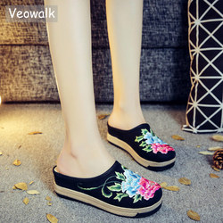 Veowalk Thick Bottom Women Floral Embroidered Canvas Flat Slippers Handmade Summer Bohemian Ladies Linen Espadrilles Shoes