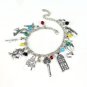Sherlock Holmes Key 221B Door Clothes Watson Baker ST Trenchcoat Alloy Charm Bracelet Bangles Crystal Beads Cool Gift For Woman(China)