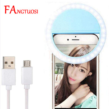 USB Charge Selfie Ring Light for Iphone Portable Flash LED selfie ring light video light for Phone Night Enhancing light clip