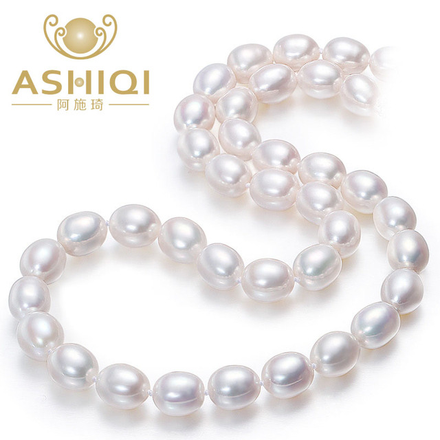 ASHIQI White Natural Pearl Necklace for women 7-8mm Cultured Freshwater rice Pea