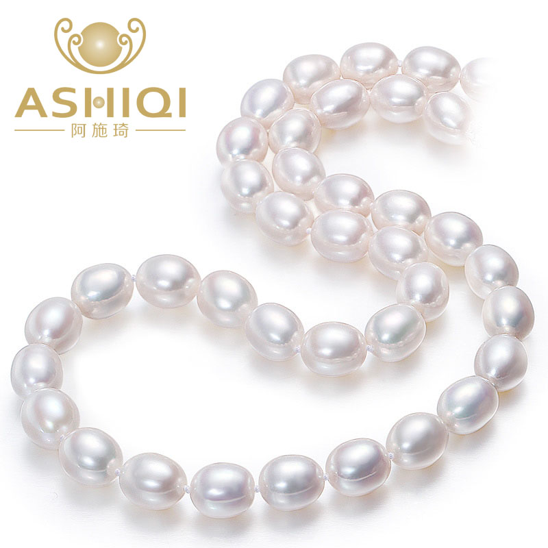 Ashiqi White Pure Pearl Necklace For Ladies ,7-8Mm Cultured Freshwater Rice Pearls Necklaces