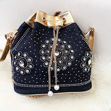 Women pra jean shoulder bags bolsa feminina shoulder bag diamonds handbags bags with Beading messenger handbag chains handbags