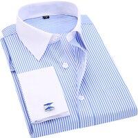 Di alta Qualità A Righe Uomini Francesi Gemelli Dress Shirt A Maniche Lunghe Colletto Bianco Casuale Stile di Disegno Wedding Tuxedo Shirt 6XL