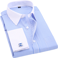 High Quality Men French Cufflinks Casual Dress Shirts Long Sleeved Covered Button Design Slim Fit