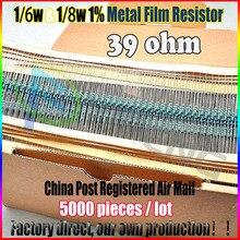 НОВЫЙ 5000 шт. 39 ом 1/6 Вт & 1/8 Вт 39ohm 39R Резистор Металлические Пленочные 0.25 Вт 1% ROHS