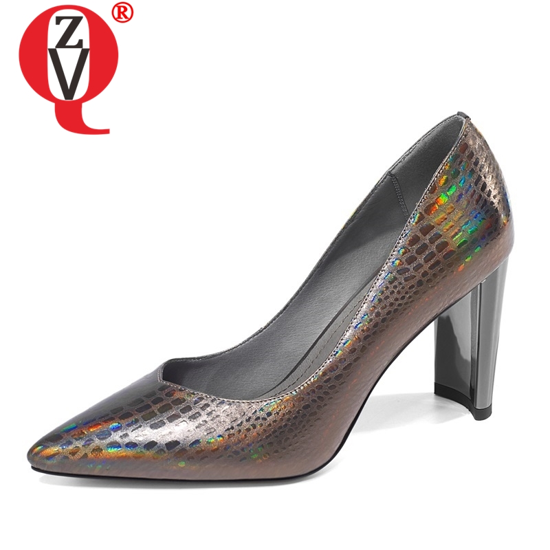 ZVQ shoes women spring new fashion sexy handmand genuine leather women pumps outside super high hoof heels pointed toe shoes-in Women's Pumps from Shoes    1