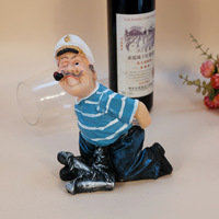 1PC Creative character wine rack seaman wine holders resin craft ornaments Home Furnishing wine bottle holder J2078