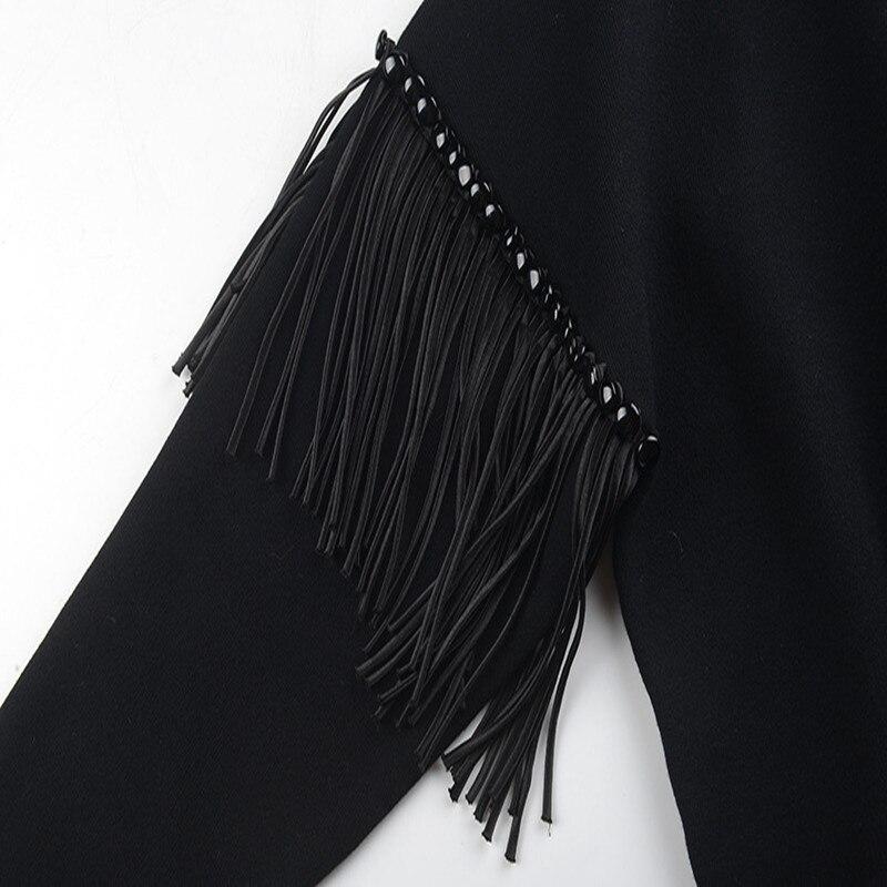 Top 2018 Chandail Lâche Jumper Boutons À Gland Nouvelle Hiver Automne Black Avant Knit Long Pulls Femmes Piste Court white Sruilee Retour tAPdEwqA