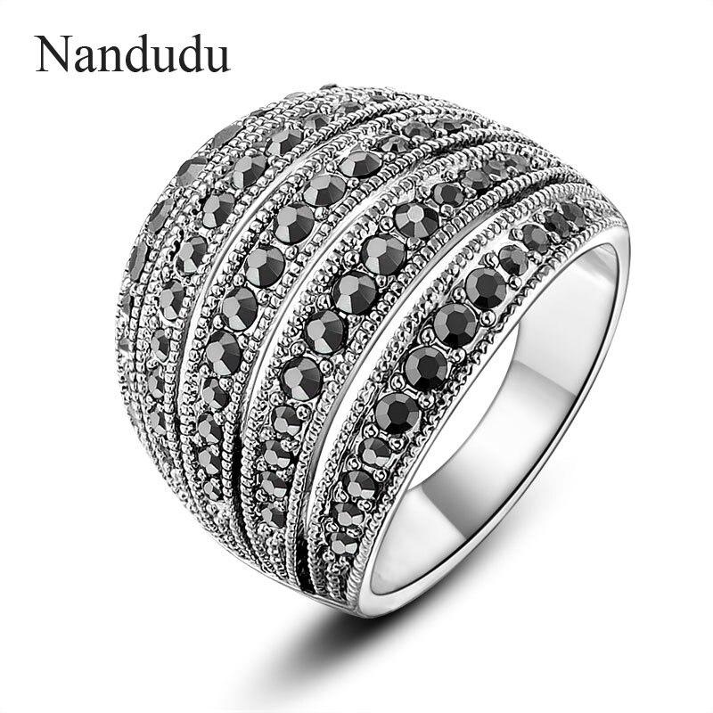 e09682aba9a4 Nandudu nueva llegada Anillos negro cristales vintage diseño antiguo anillo  de cóctel moda mujer joyería regalo Accesorios r1028