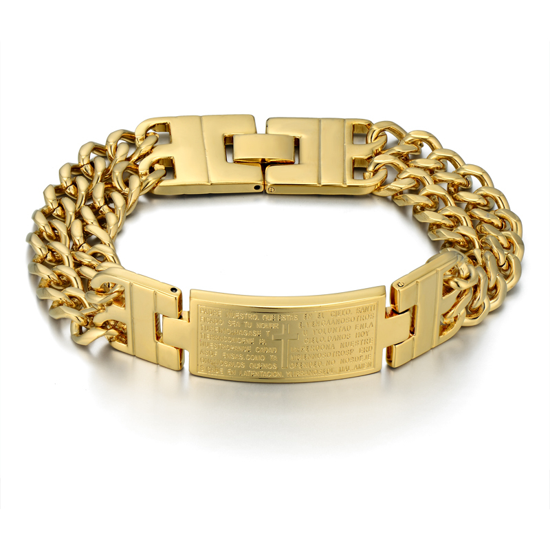 Unique Double Cuban Chain Link Bracelet Punk Male Gold Color Cross - Fashion Jewelry - Photo 6