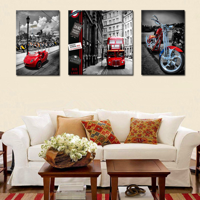 Superieur 3 Pieces Vintage City Street Bus Car Motorcycle Canvas Painting Modern Wall  Art Prints Picture Home