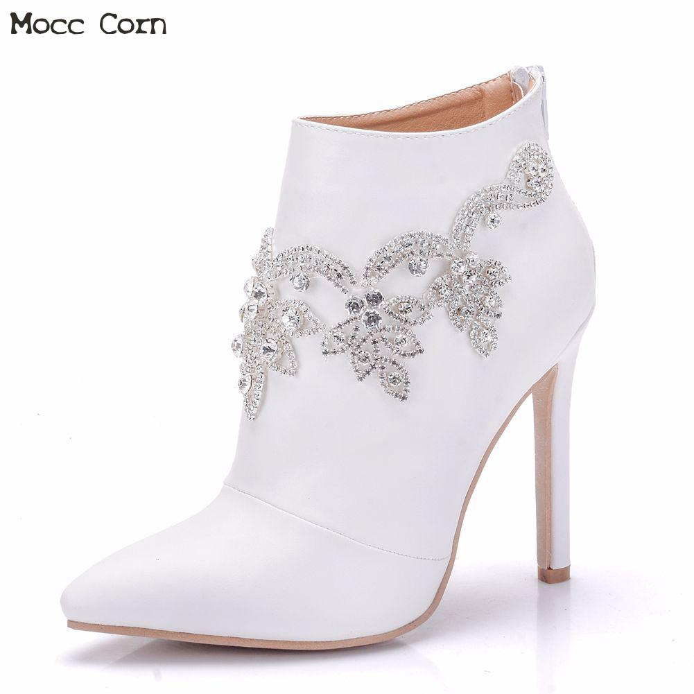 8eeafff169295 Women Genuine Leather Crystal High Heel Boots Rhinestone Thin Heel Pointed  Toe Wedding Boots White Sexy