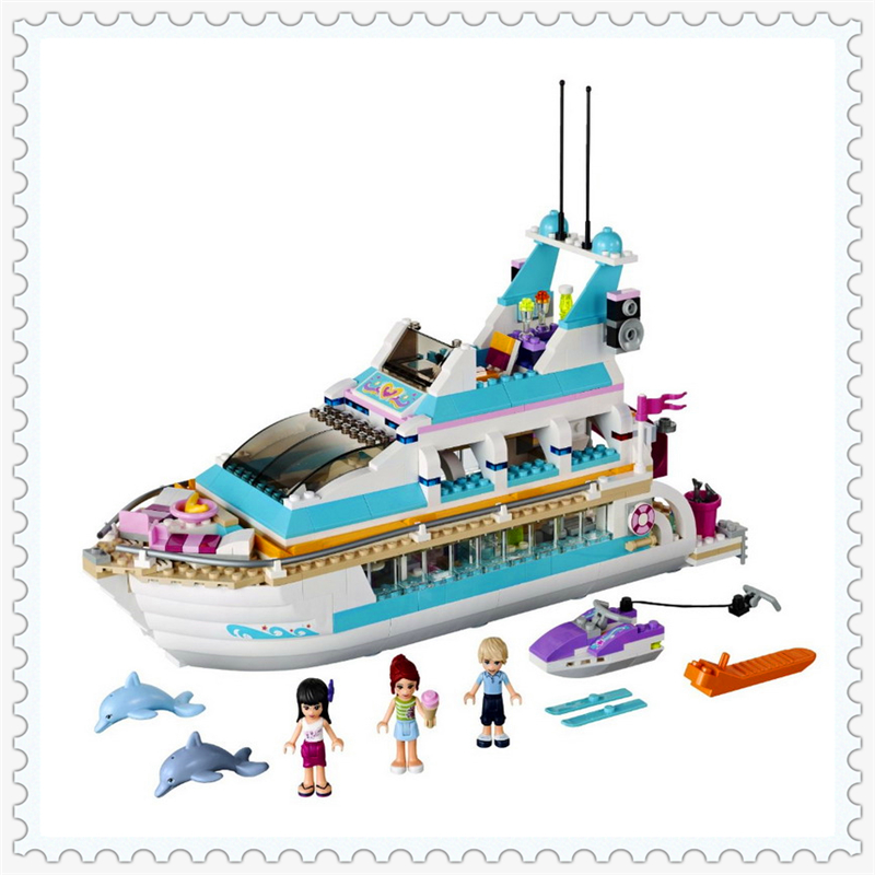 618Pcs Friends Series Dolphin Cruiser Ship Model Building Block Toys BELA 10172 Educational Gift For Children Compatible Legoe new lepin 16008 cinderella princess castle city model building block kid educational toys for children gift compatible 71040